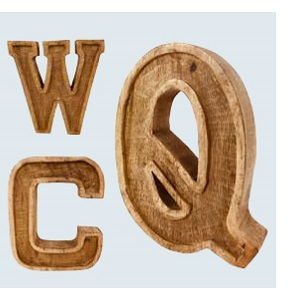Hand Carved Wooden Embossed Single Letters